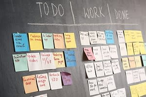 blackboard with post it notes